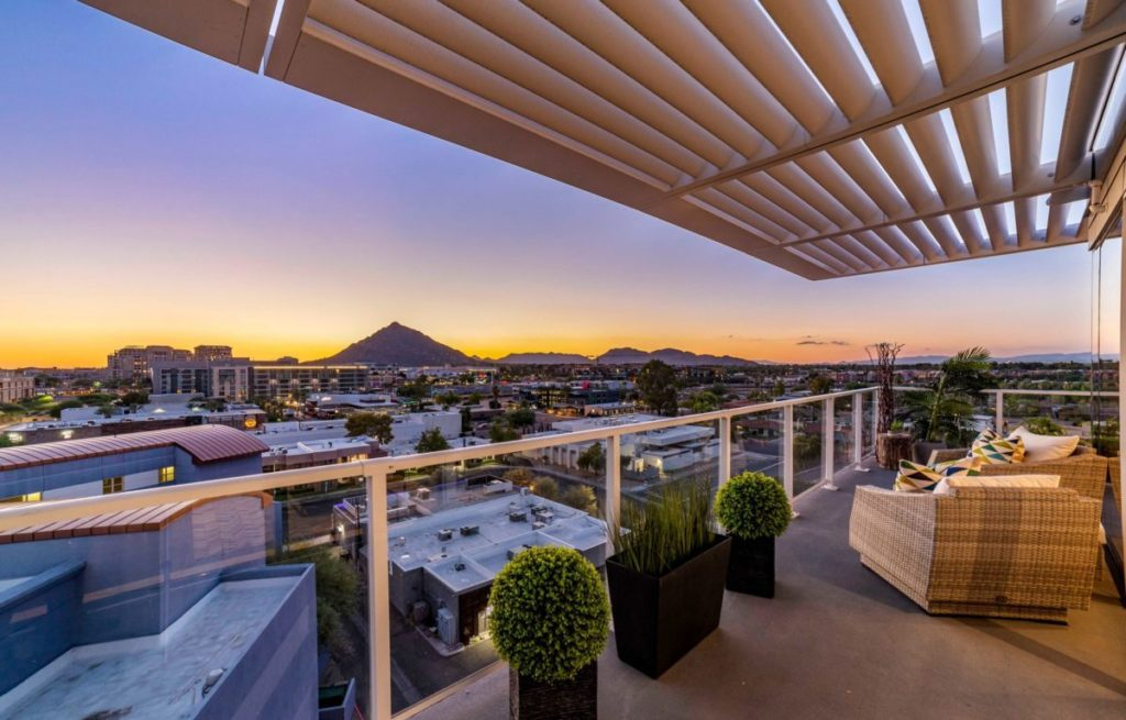 Luxury condo in scottsdale overlooking mountain from balcony